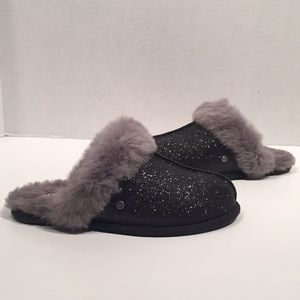 UGG Black Scuffette Glitter Sheepwool Slippers